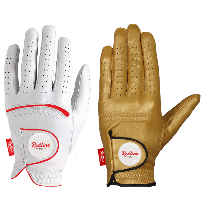 Cabretta leather golf gloves gold and white