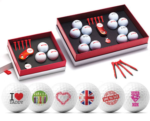 Personalised golf balls in golf gift boxes deluxe